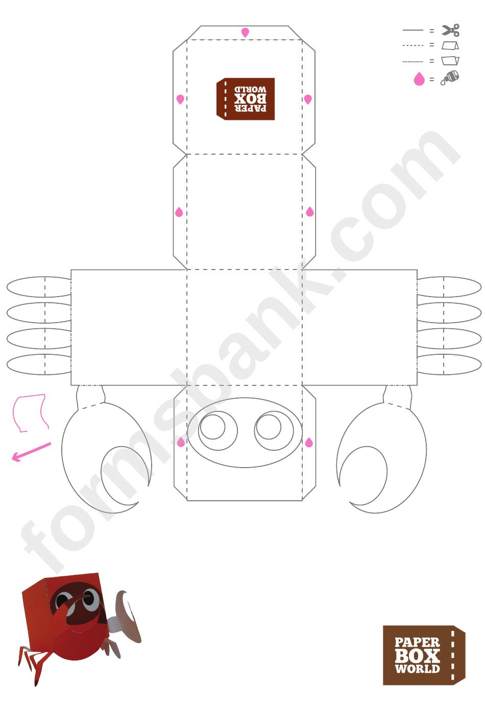 Crab Paper Toy Box Template Printable Pdf Download