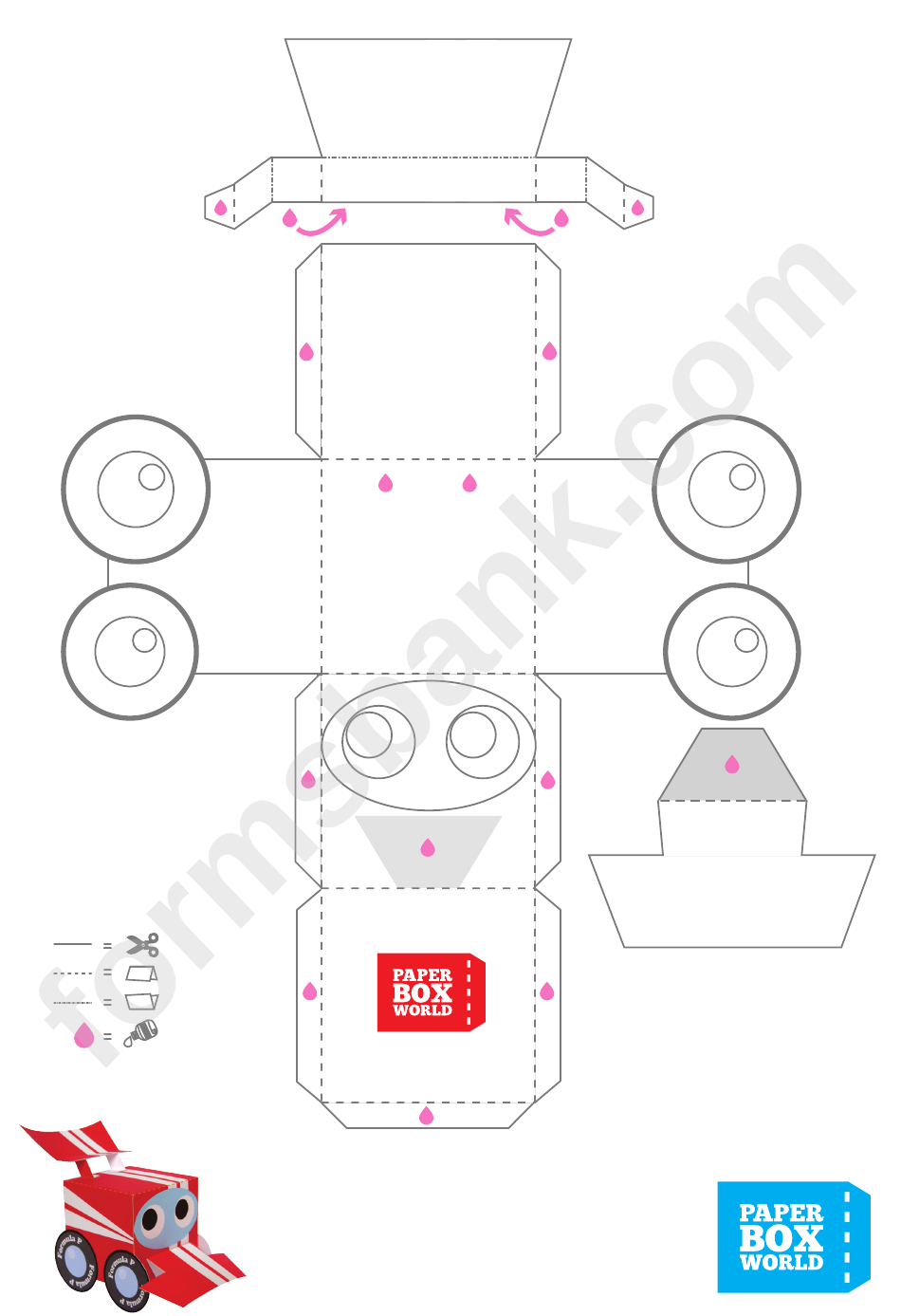 Race Car Paper Toy Box Template Printable Pdf Download