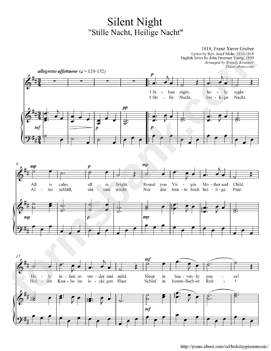 Silent Night Piano Sheet Music printable pdf download