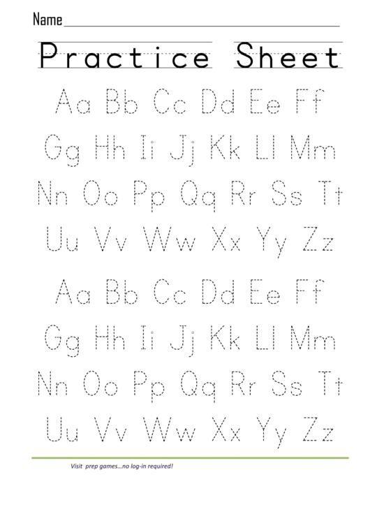 Practice Sheet Printable pdf