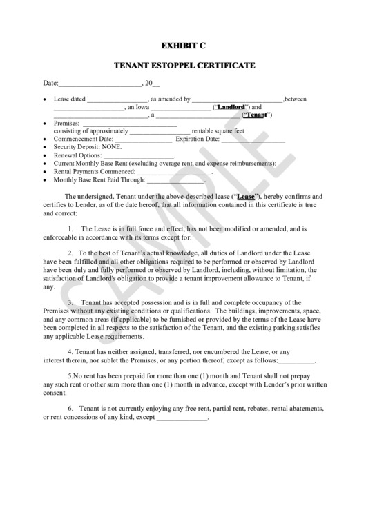 Tenant estoppel certificate template printable pdf download for Estoppel certificate template