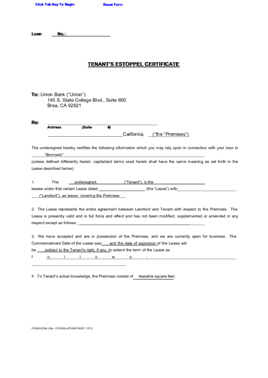 Fillable tenants estoppel certificate printable pdf download for Estoppel certificate template