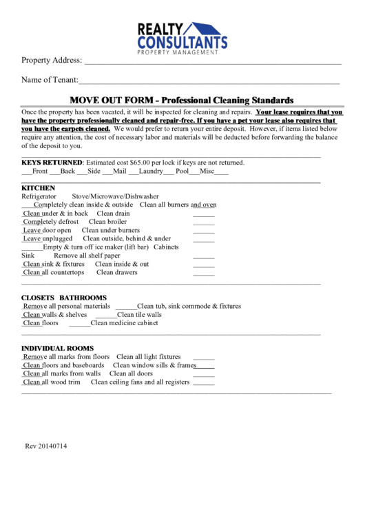 Move Out Form - Professional Cleaning Standards