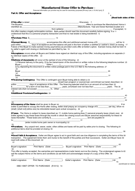 Top 10 earnest money agreement form templates free to download in earnest money agreement form templates manufactured home offer to purchase platinumwayz