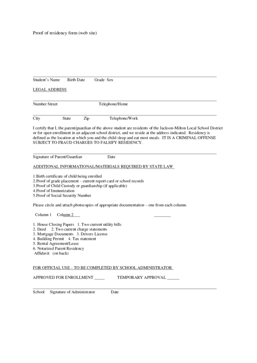 proof of residency form  web site  printable pdf download