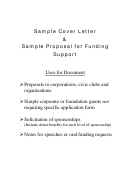 Sample Cover Letter Template & Sample Proposal For Funding Support