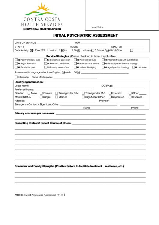initial psychiatric assessment printable pdf download. Black Bedroom Furniture Sets. Home Design Ideas