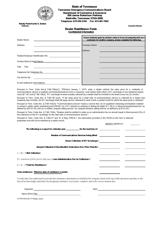 What Is The Sales Tax In Virginia >> Dealer Remittance Form printable pdf download