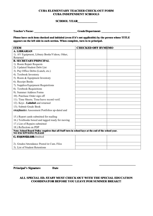 Fillable Cuba Elementary Teacher Check-Out Form Cuba Independent