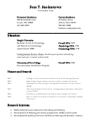 Student Curriculum Vitae - Bachelor Of Arts In Psychology