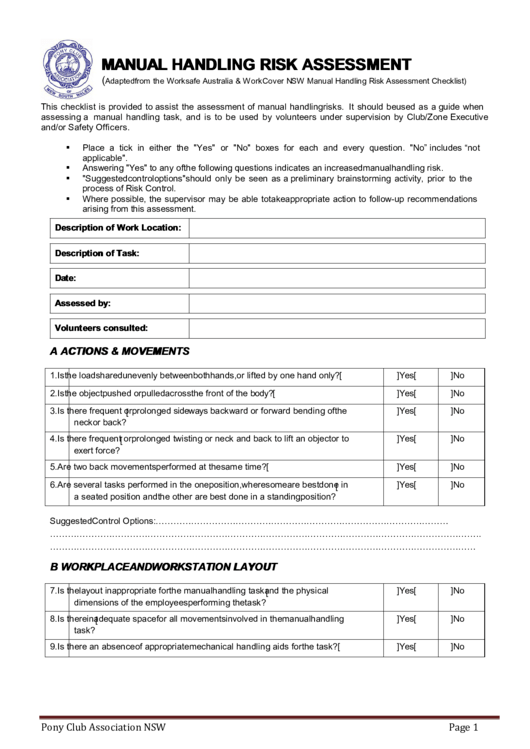 Manual Handling Risk Assessment Template printable pdf download