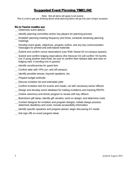 Suggested Event Planning Timeline Printable pdf