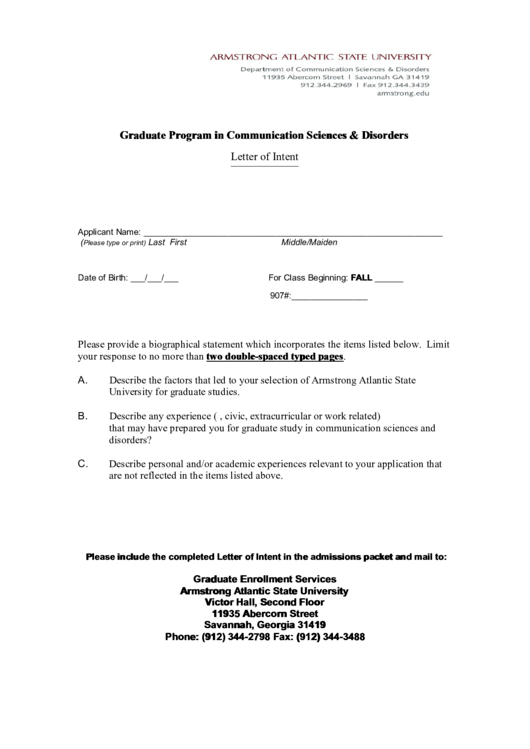 Graduate Program In Communication Sciences & Disorders Letter Of Intent