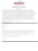 Sample Resignation Letter Template Printable pdf