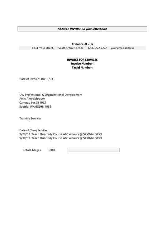 Sample Invoice Template Printable pdf