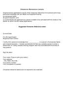 Character Reference Letters Template
