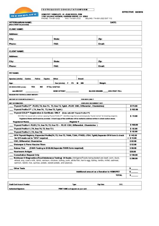 Test Request Submission Form/consultation Form - Hemopet/hemolife