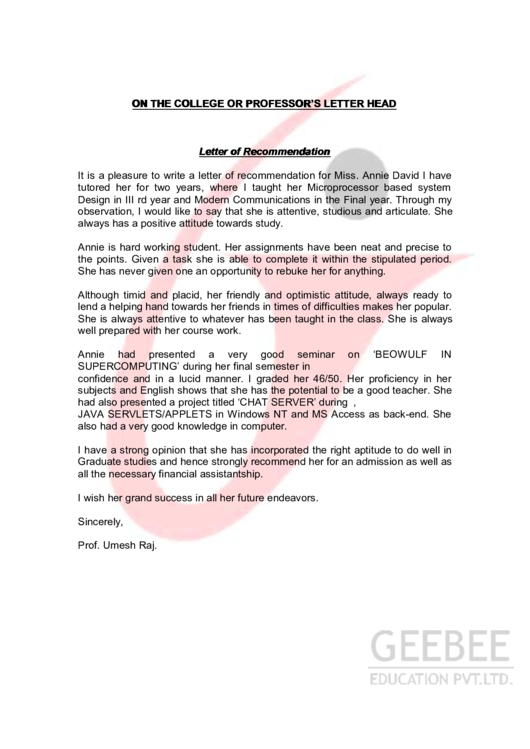 Letter Of Recommendation Printable pdf