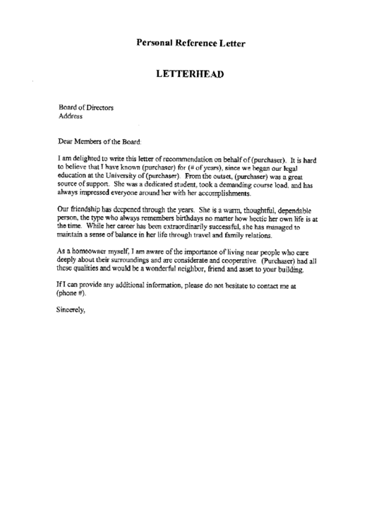 Various Reference Letter Template Printable pdf