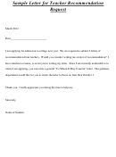Sample Letter For Teacher Recommendation Request