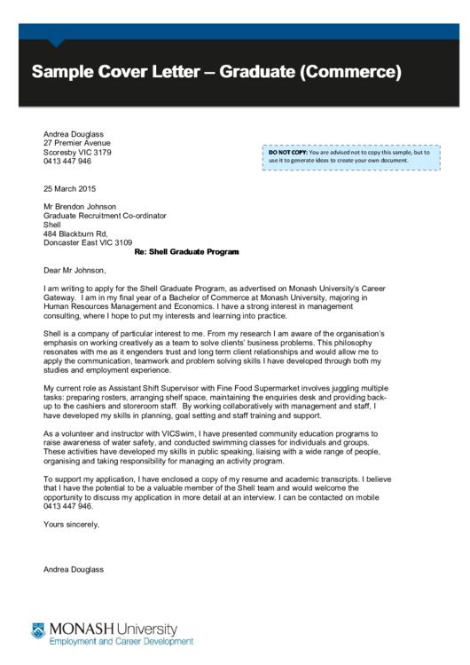 Sample Cover Letter Graduate Commerce