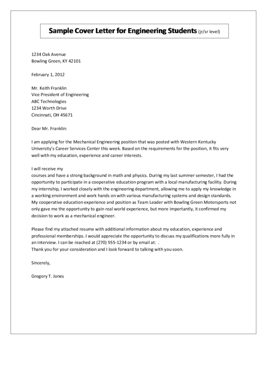 Sample Cover Letter For Engineering Students Template - (jr/sr Level)