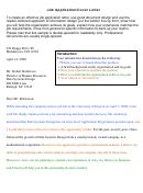 Job Application/cover Letter