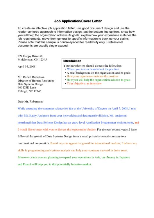 Job Application/cover Letter Printable pdf