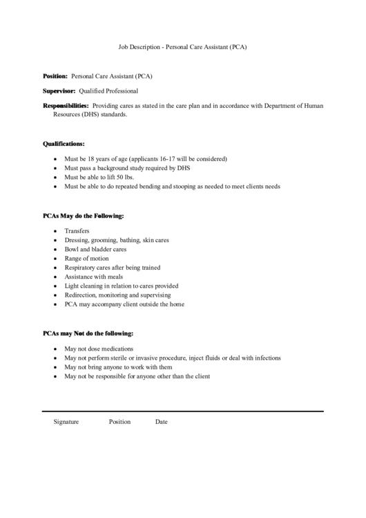 Job Description - Personal Care Assistant (pca)