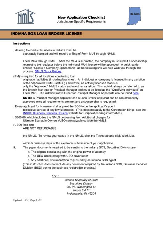 Indiana-sos Loan Broker License (jurisdiction-specific Requirements)