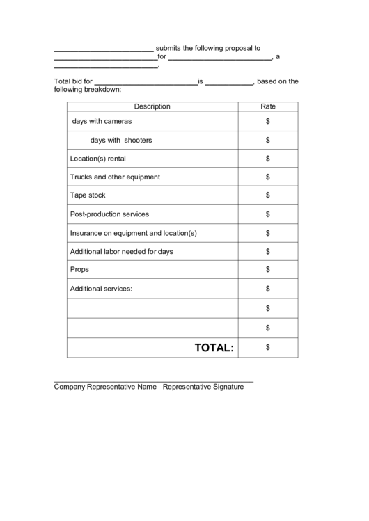Video Production Proposal Template Printable Pdf Download