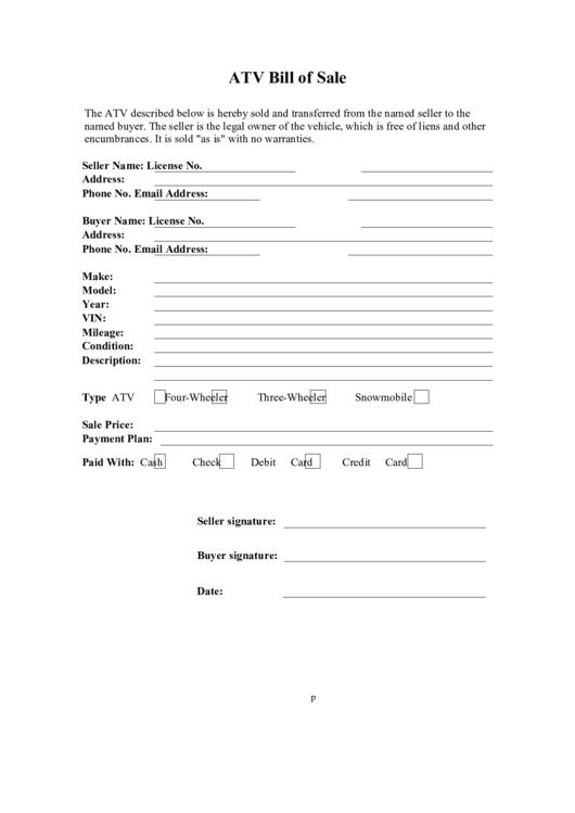 photograph regarding Printable Atv Bill of Sale named Atv Invoice Of Sale Type printable pdf obtain