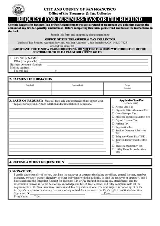 Request For Business Tax Or Fee Refund - City And County Of San Francisco Printable pdf