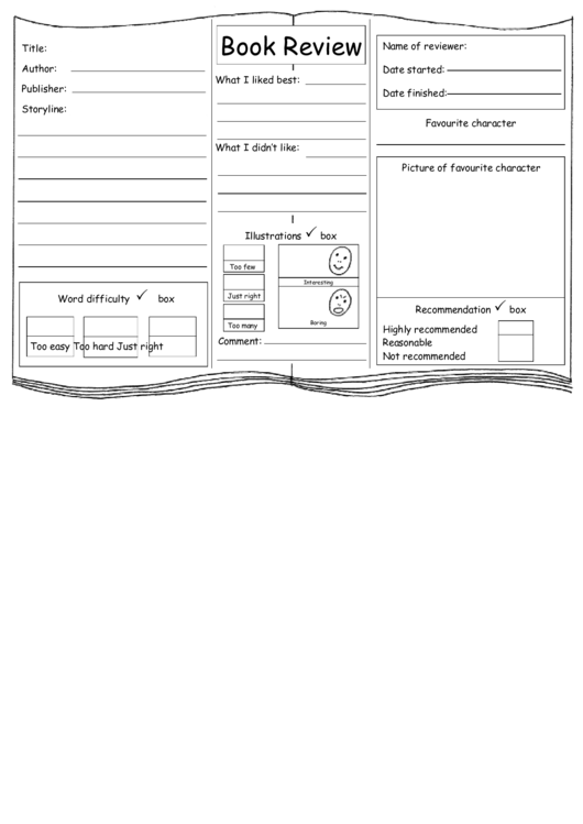 Simplified Book Review Template Printable pdf