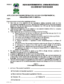 Form 3 - Application For Registration Of Non-governmental Organization In Kenya
