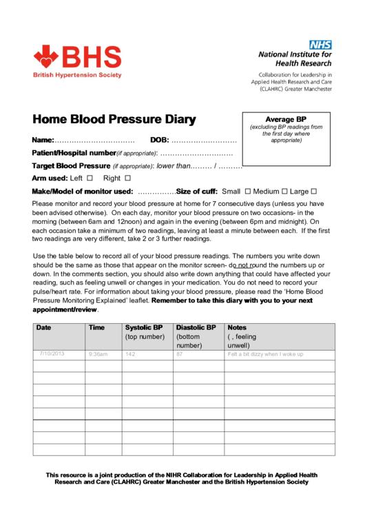home blood pressure diary printable pdf download
