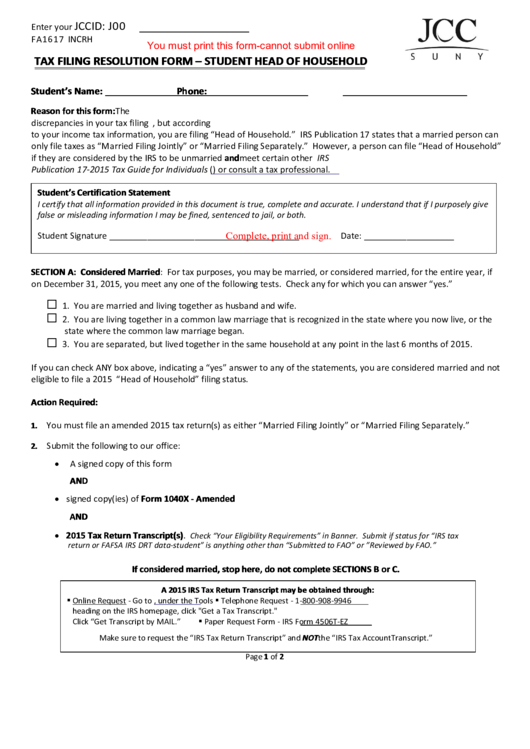 Fillable Tax Filing Resolution Form - Student Head Of