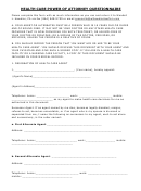 Health Care Power Of Attorney Questionnaire Template