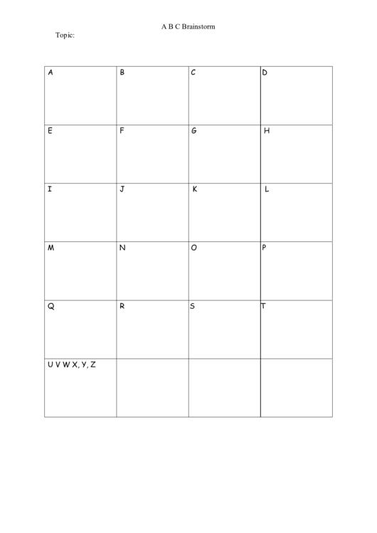 Abc Brainstorm Template Printable pdf