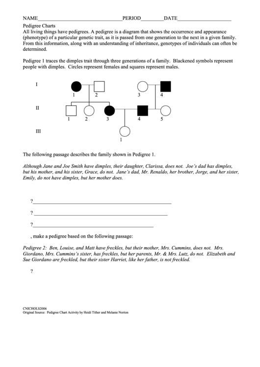 Pedigree Charts Biology Worksheets Printable Pdf Download