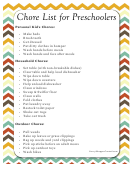 Chore List For Preschoolers