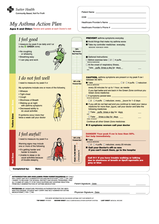 Child asthma action plan form printable pdf download for My asthma action plan template