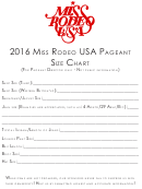 Size Form Miss Rodeo Usa