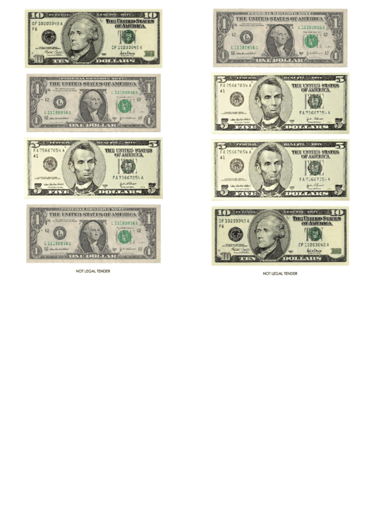 One, Five And Ten Dollar Bill Templates Printable pdf