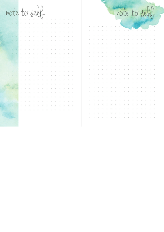 Note To Self Template Printable pdf