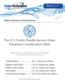 The U.s. Public Health Service Water Hardness Classification Table
