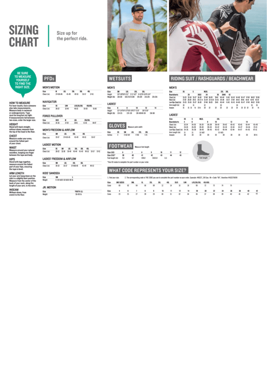 Wetsuit Sizing Chart Printable pdf