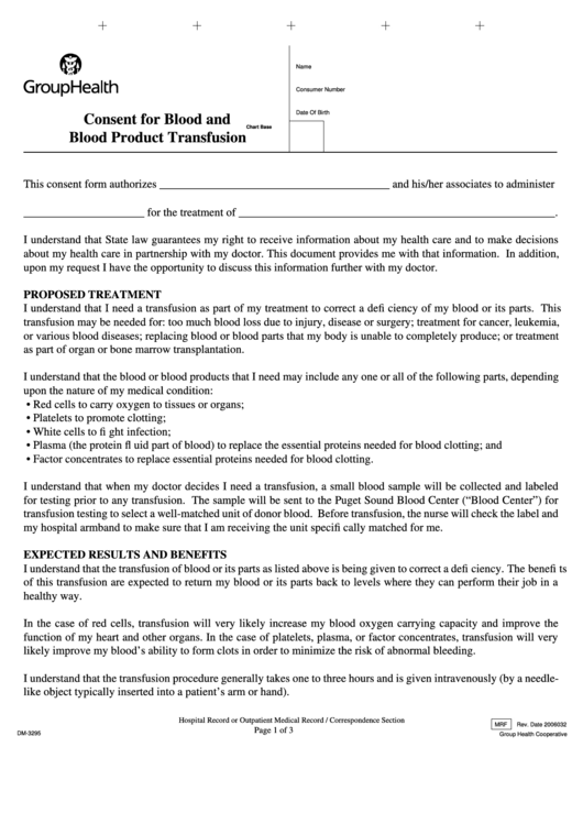 consent for blood and blood product transfusion printable pdf download