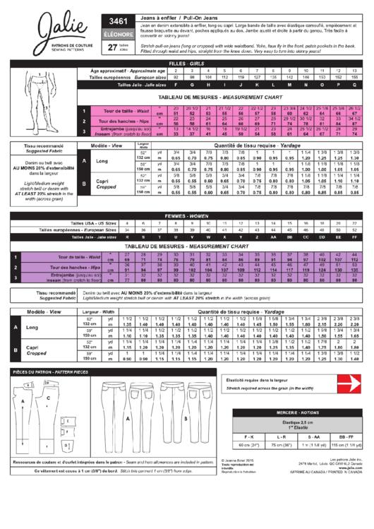 Jalie Jean Size Chart