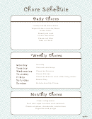Fillable Chore Schedule Template For Adults